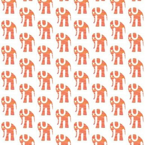 Orange Batik Elephants on White