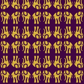 Gold Elephants on Purple Mirrored