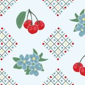 1940's Style Kitchen Cherry Wallpaper