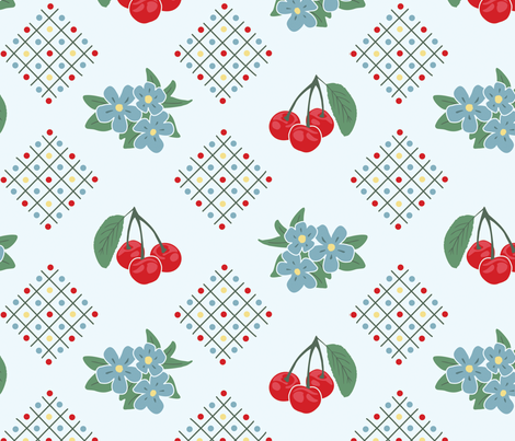 1940 39 s style kitchen cherry wallpaper in blue large print for Kitchen print wallpaper