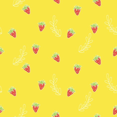 Red strawberries fabric by mintpeony on Spoonflower - custom fabric