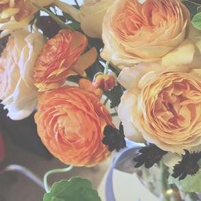Garden Rose and Ranunculus Kiss