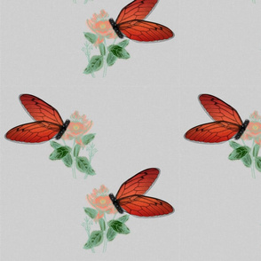 Watercolor Butterflies and Flowers