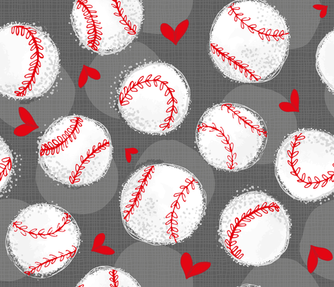 Baseball Lovers Unite! Large Scale fabric by pinky_wittingslow on Spoonflower - custom fabric