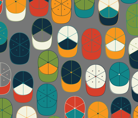 Baseball Hat Collection fabric by katerhees on Spoonflower - custom fabric