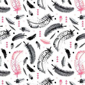 Geometric watercolor feathers in black white and pink scandinavian style illustration design