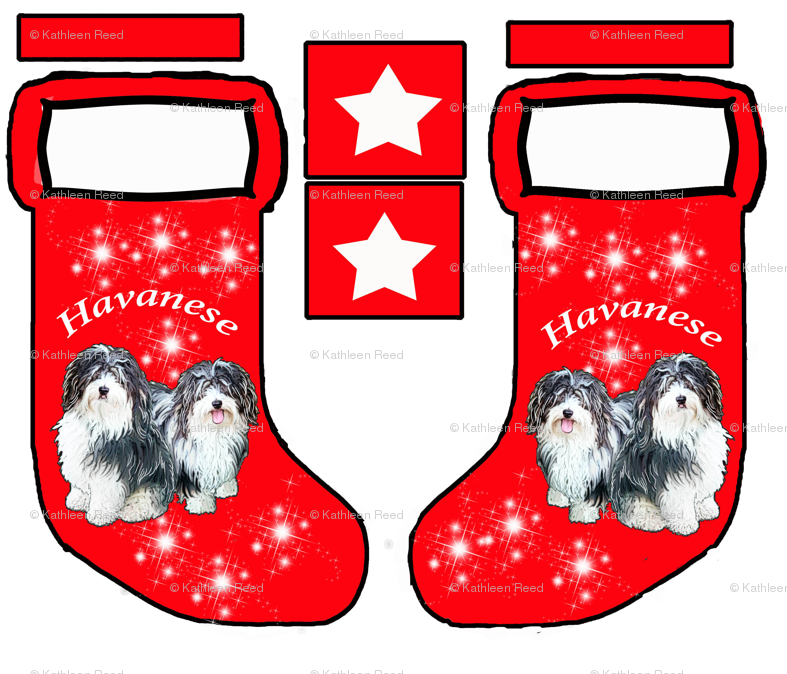 Havanese Christmas stocking pattern fabric - dogdaze_ - Spoonflower