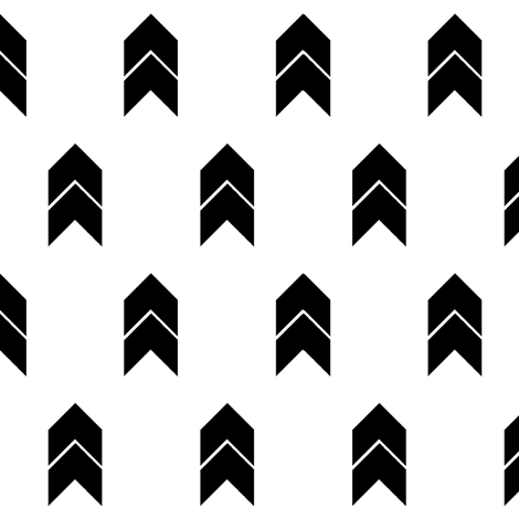 Black and white chevron fabric by mintpeony on Spoonflower - custom fabric