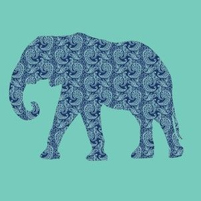Paisley Elephant in Navy