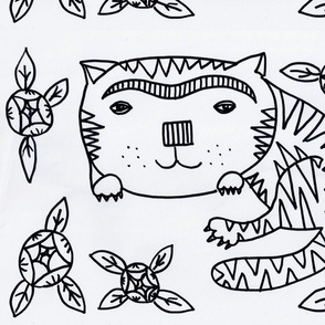 Folk cat  and flowers