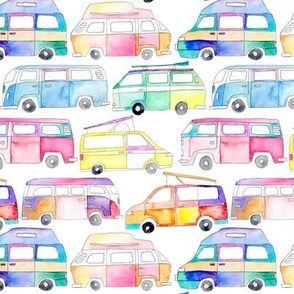 Colourful Watercolor Campervans