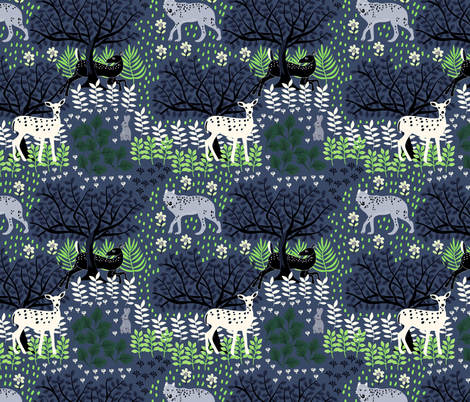 Wolf and Deer fabric by susan_polston on Spoonflower - custom fabric