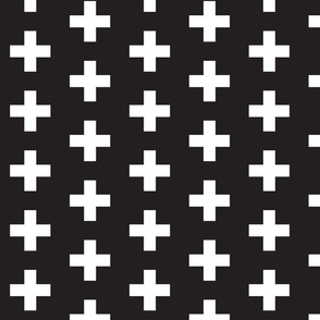 White Swiss Cross on Black