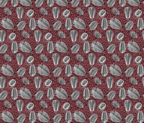 trilobites_red fabric by craftyscientists on Spoonflower - custom fabric