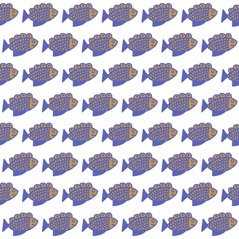 Blue and Tan Fish on White fabric by eve_catt_art on Spoonflower - custom fabric