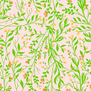 Tangled in Green and Orange on Pale Pink