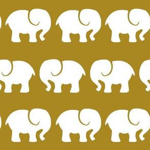 White Elephants on Gold Background