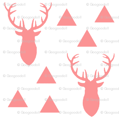 Bright Pink Deer on White Background