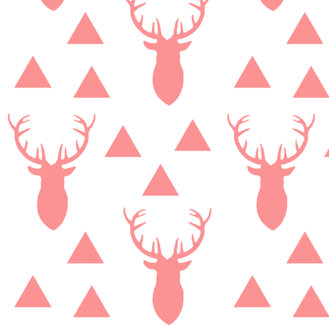 Bright Pink Deer on White Background fabric by googoodoll on Spoonflower - custom fabric
