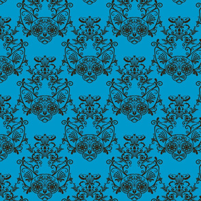 Sugar Skull Sphynx Cat Damask Blue-ed-ch-ch-ch