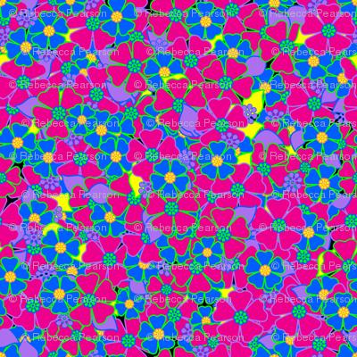 Neon Pink and blue Flowers fabric rhyannon Spoonflower #0: rNeonflowerstileorig preview