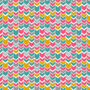 Pink Teal Gold Gray Chevron