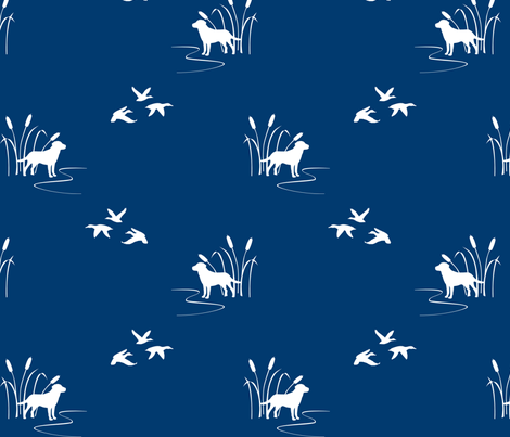 Dog Ducks hunting scene Navy fabric by mrshervi on Spoonflower - custom fabric