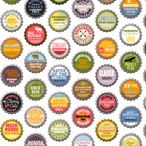 Soda Nation - 59 Bottlecaps of the U.S. National Parks || bottlecap bottle cap national park America United States nps polka dots typography cola travel summer food drink vacation fabric by pennycandy on Spoonflower - custom fabric