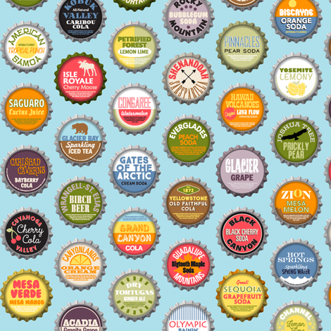 Soda Nation (Blue Raspberry) || bottlecap bottle cap national park America United States nps polka dots typography cola travel summer food drink vacation fabric by pennycandy on Spoonflower - custom fabric