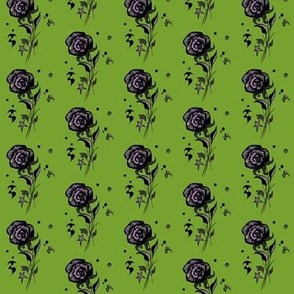 Green, purple, black flowers with bats and stars