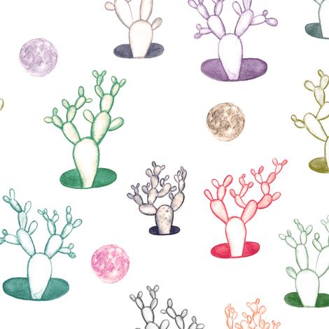 cacti under the moon fabric by ravynka on Spoonflower - custom fabric