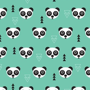 Cute geometric panda bear zoo mint gender neutral animals design