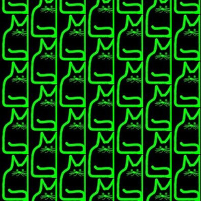 Stacked Cats Neon Green