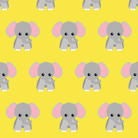 Baby Elephant Yellow fabric by rainbowsandbuttons on Spoonflower - custom fabric