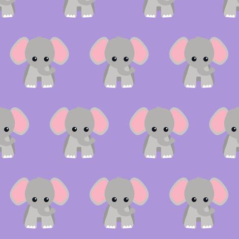 Baby Elephant Purple fabric by rainbowsandbuttons on Spoonflower - custom fabric
