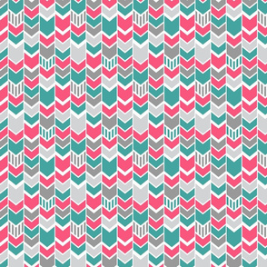 Pink Teal gray Chevron Half scale