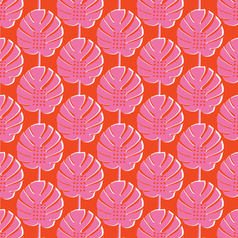 compacabana /  tropical philodendron leaves beach pink red orange bright fabric by teamkitten on Spoonflower - custom fabric