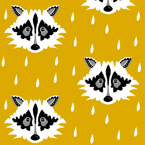 Raccoon mustard fabric by miamea on Spoonflower - custom fabric
