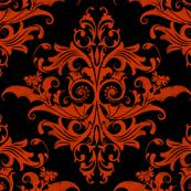Calvarium Damask - red on black