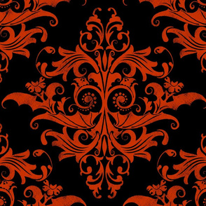 Calvarium Damask - red on black