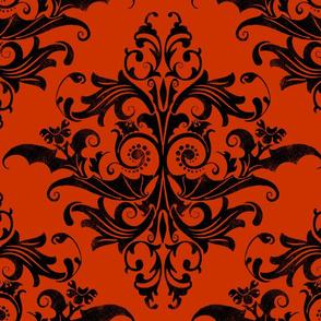 Calvarium Damask - black on red