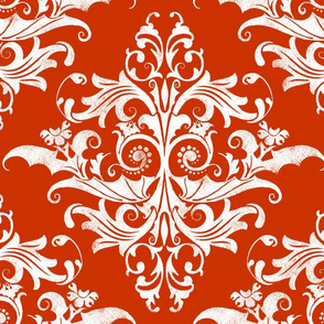 Calvarium Damask - white on red