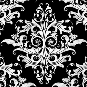 Calvarium Damask - white on black
