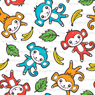 cute monkey with bananas and leaves