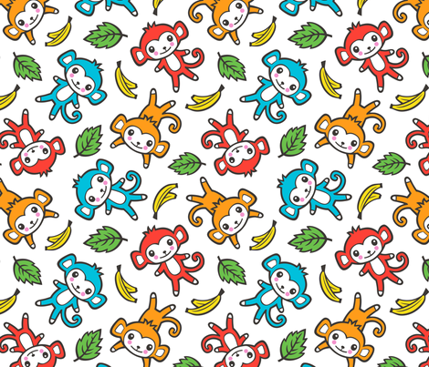 cute monkey with bananas and leaves fabric by caja_design on Spoonflower - custom fabric
