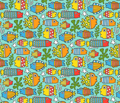 Fish with geometric pattern wallpaper caja design for Fish pattern fabric