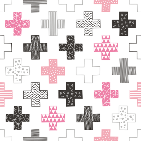 Crosses Plus Sign Pink fabric by caja_design on Spoonflower - custom fabric