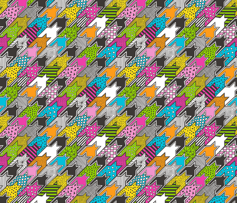 houndstooth geometric popart doodle fabric by caja_design on Spoonflower - custom fabric