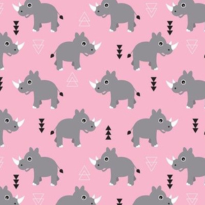 Cute Rhino jungle safari girls geometric woodland animals adorable kids illustration pattern in pink