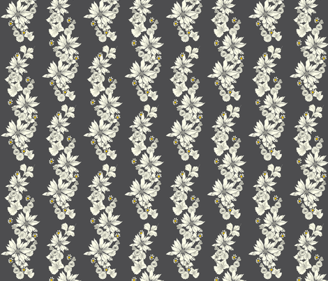 Floral Chain_white on charcoal fabric by carrie_narducci on Spoonflower - custom fabric